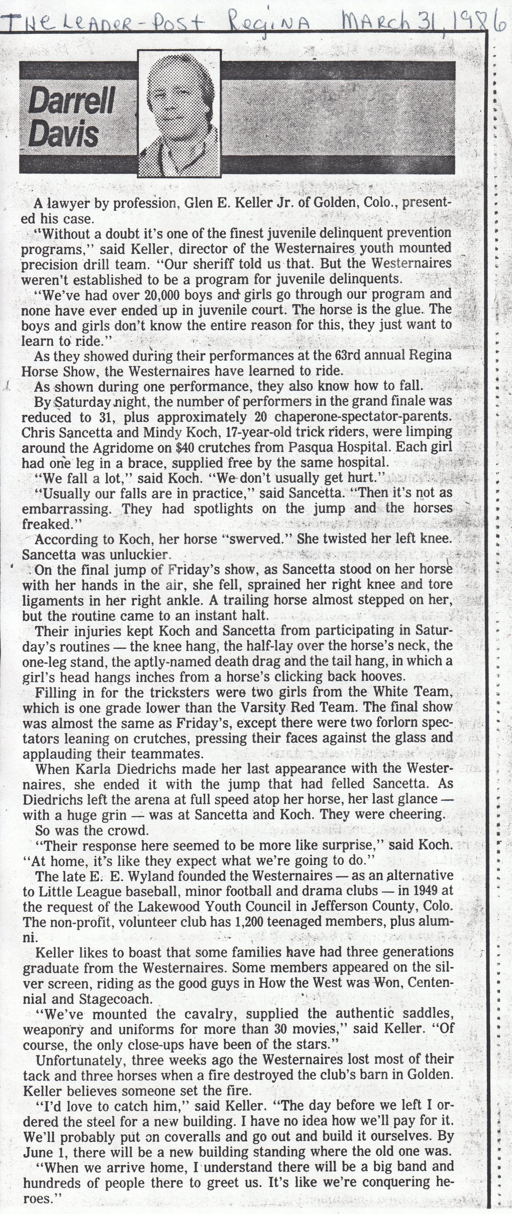 Regina   Leader-Post  's article, dated March 31st, 1986