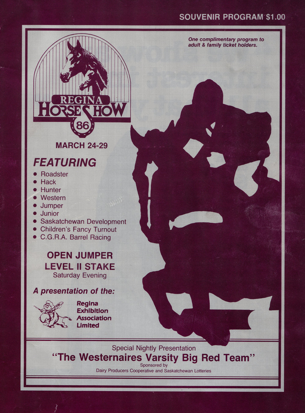 The 1986 Regina Horse Show program cover