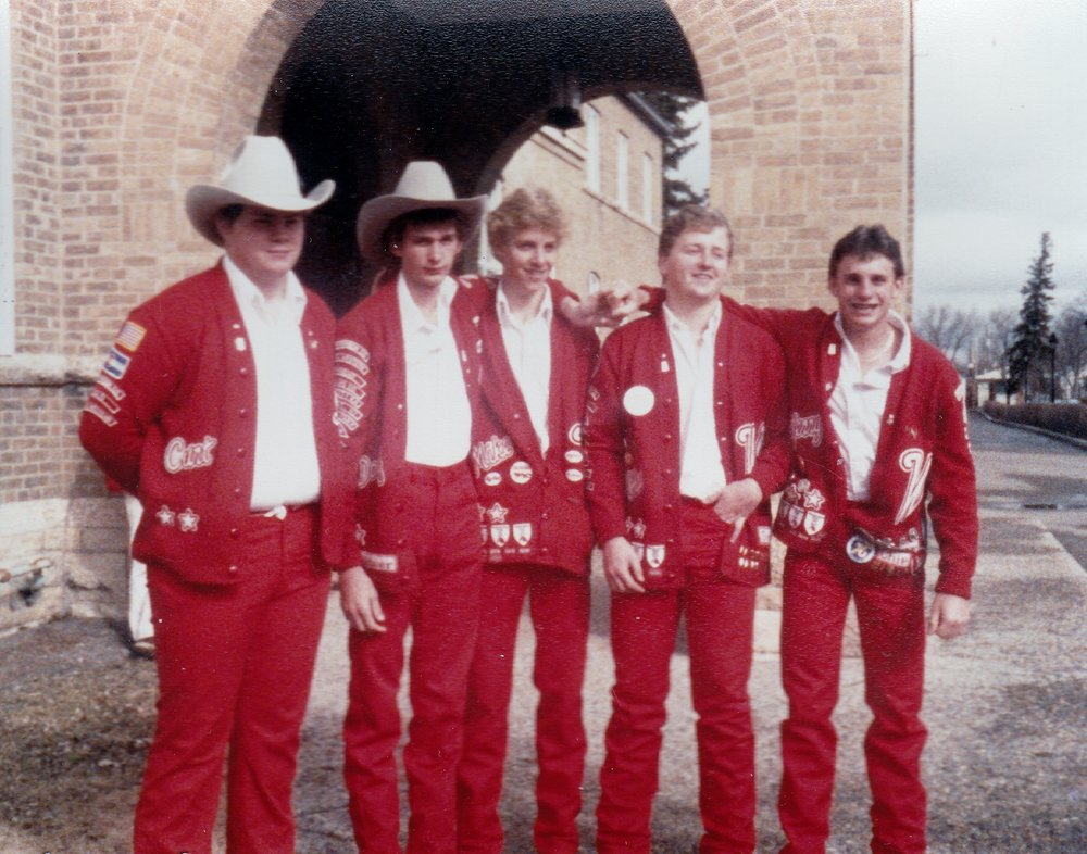 "Since 1885, the RCMP Academy, ""Depot"" Division in Regina, Saskatchewan has been training members of the Canadian national police force.  Varsity Red Team boys on tour of the Academy facilities.  From left to right: Curt Fear, Doug Hesser, Mike Keller, Chad Kestner, and Jerry Bauer."