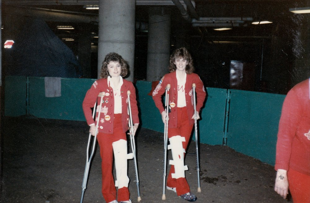 Mindy Koch (left) and Chris Sancetta (right) both injured themselves during trick riding practice in Regina.  Impressively though, their horses were going over a jump while they performed the Hippodrome trick (i.e., standing up).