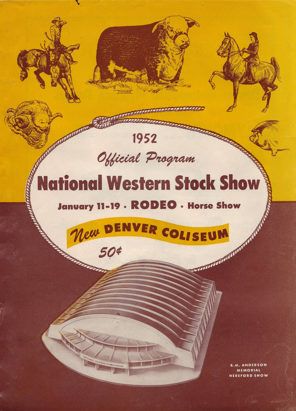 The program cover for the 1952 National Western Stock Show and Rodeo