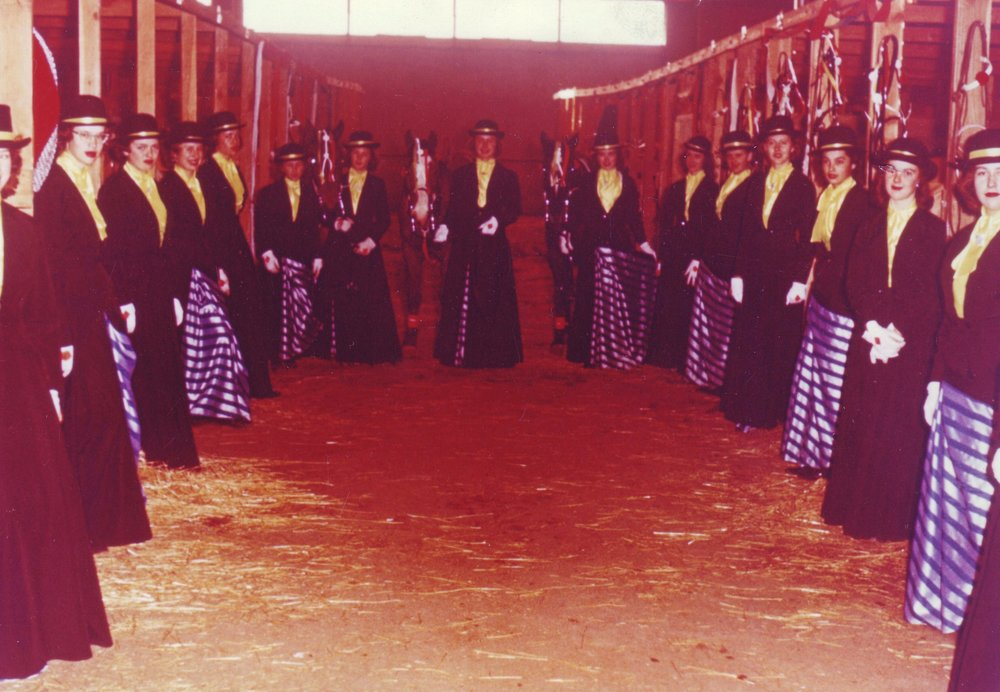 Ladies of the Westernaires' Golden Sidesaddle Review reveal the fabric underneath their riding habit costume that would glow under the arena's black lights.