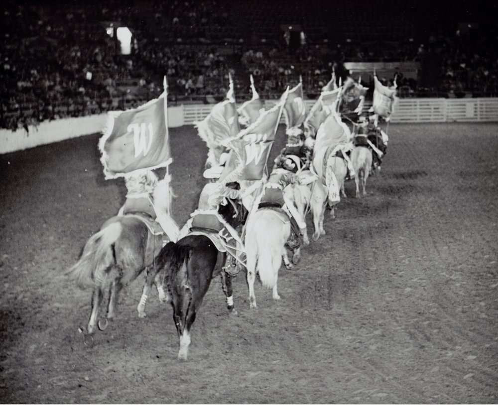 The Westernaires Grand Entry team dashes into the Coliseum at the 1961 National Western Stock Show.