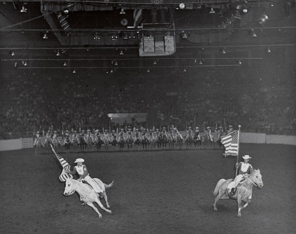 """The Westernaires American Flag riders """"post the colors Western style"""", 1961."""