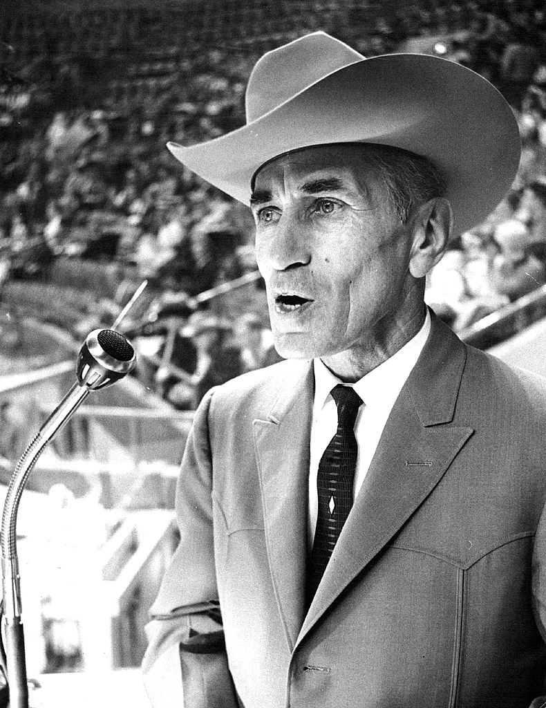 Cy Taillon announcing Denver's National Western Stock Show Rodeo in 1965.