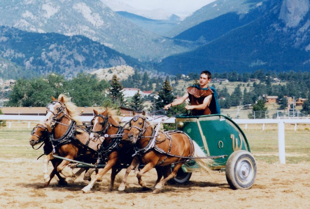 Hugh Peterson at the 1994 Estes Park show drives chariot ponies (from left to right): Smokey, Mike, Snort, and Cinnamon.  These brown ponies were part of a group that was acquired by Westernaires in the mid-1980s.
