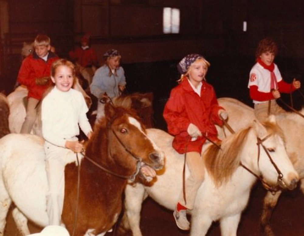 A Pony Hoedowners team practice in 1983.  The Westernaires kids had to quickly became accustomed to the cantankerous personalities of the Shetlands.