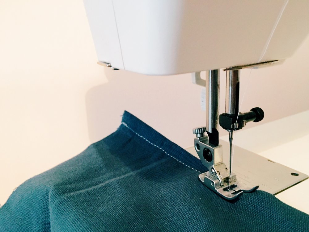 Sew the hem on each back piece. You now have one hemmed side and three raw edged sides on each back piece.