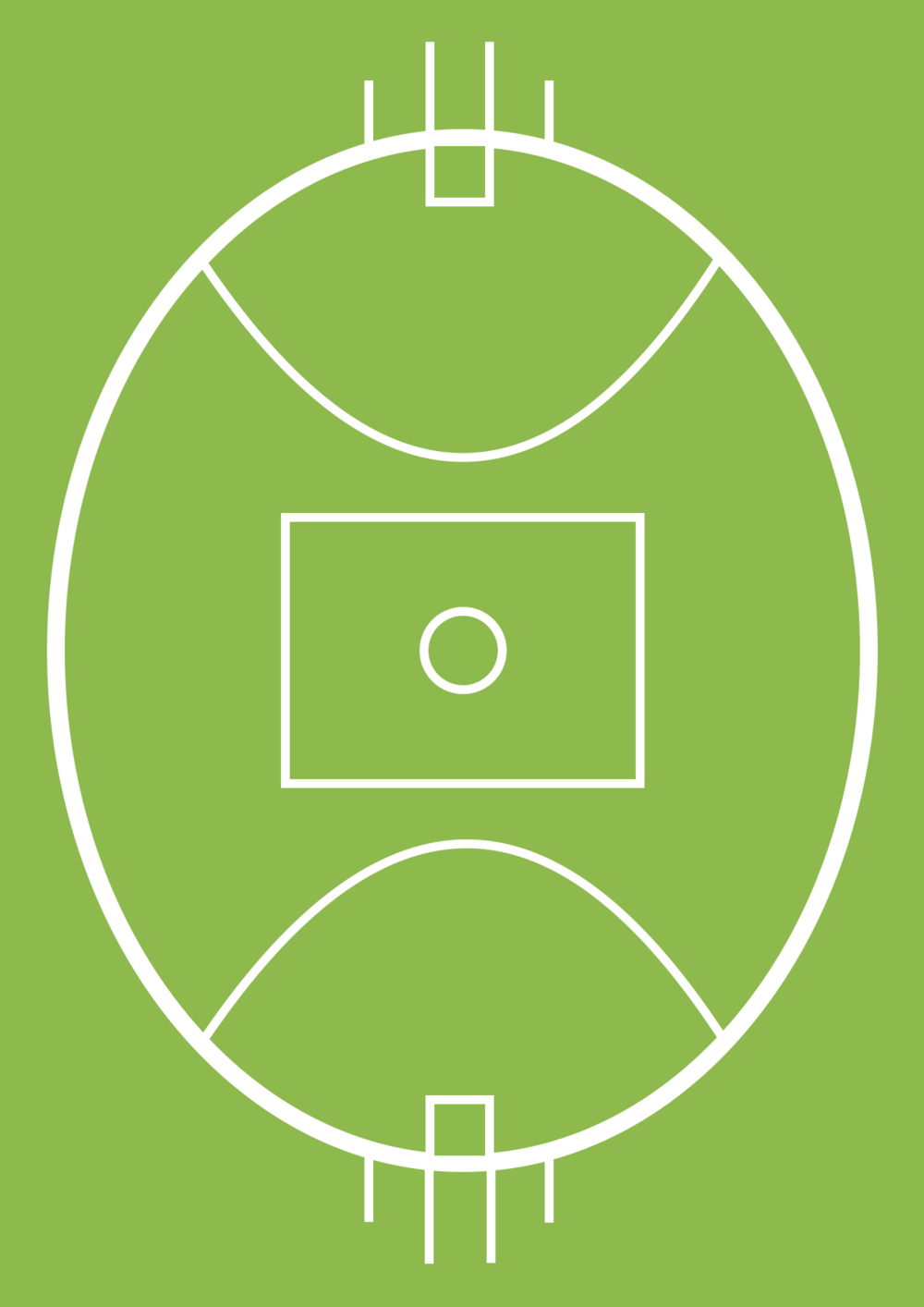 The layout of the field in Australian rules football