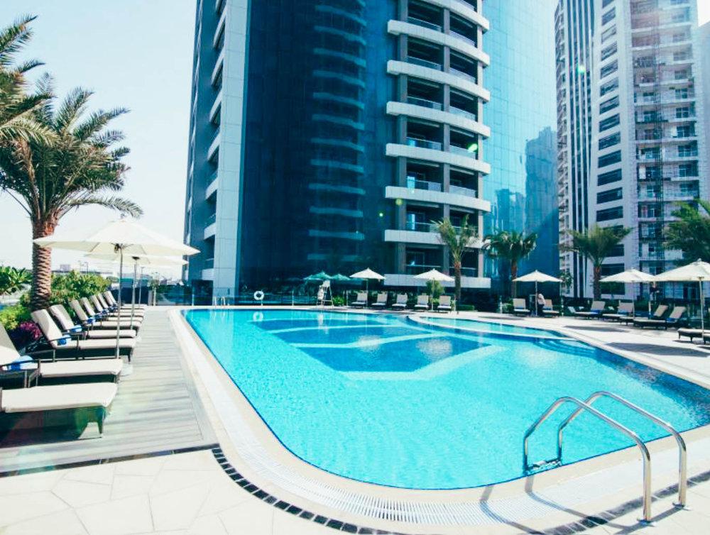 The Atana Hotel Dubai outside pool.