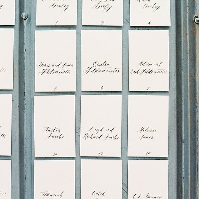 These escort cards were hung on the side of the (beautiful) barn wall at @northcornerhaven where the ceremony was held, and could not have been more gorgeous. You really must go see the full blog at @nancyray, @oliviasuriano did an amazing job capturing Nancy Lee and John's wedding. . . Venue: @northcornerhaven  Farm to table: @northcornerhaven  Florals: @properflower  Cake: @forgoodnesscakescharlotte  Event Coordination & Design: @northcornerhaven  Hair: @jademarionhair  Wedding Dress: @nitsasapparel  Paper Goods: @saseink  Calligraphy: @manifestcalligraphy  Photographer: @oliviasuriano  Film processing: @indiefilmlab