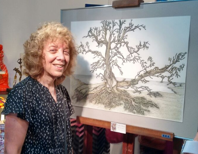 cecilia with her artwork -