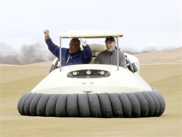 Al Roker and Matt Lauer having fun piloting Bubba Watson's hovercraft