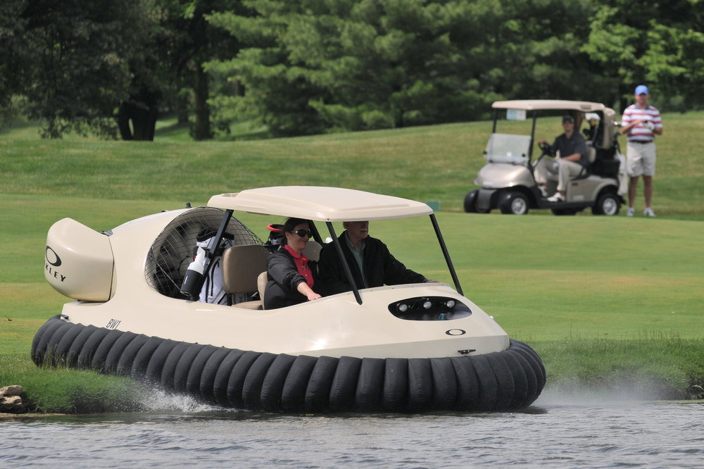 Bubba Watson's hovercraft on golf course in Springfield, Ohio, USA