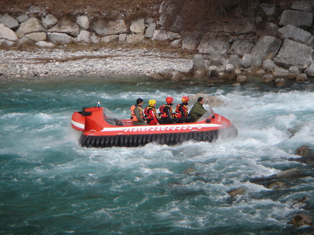 6 Passenger rescue craft being deployed in swift water, Italy