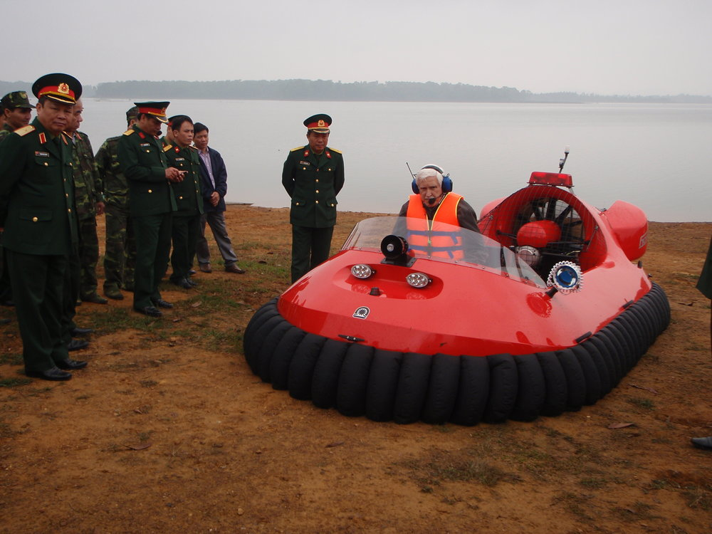 Training and demonstration in a 6 seat rescue craft in Vietnam