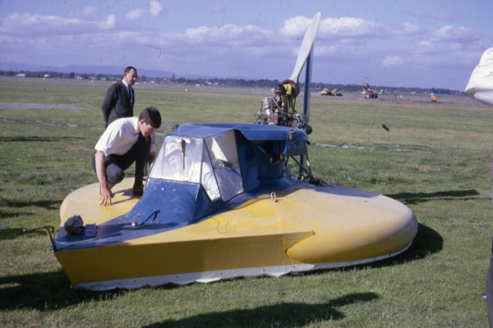 Chris on Deck and Rob Flying the Craft, Moorabbin Airport Demonstration, March 1966