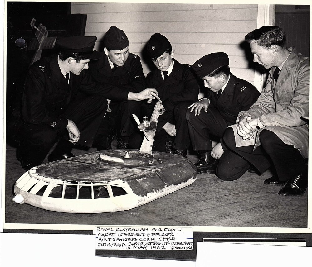 Air Training Corps Cadets learning about Model Hovercraft, Australia, 1962