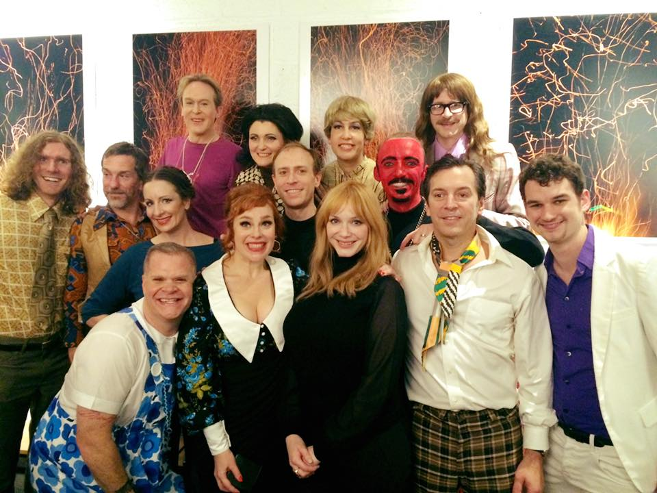 "Christina Hendricks with the cast of ""The Mad World of Miss Hathaway"""