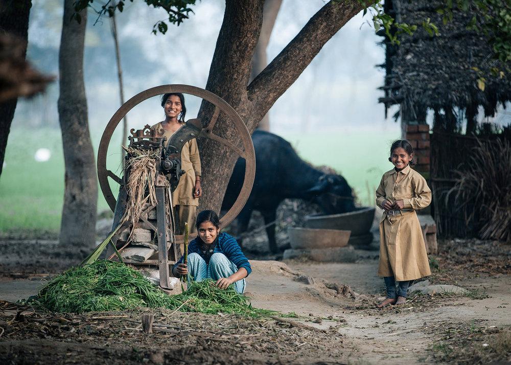 Village Girls, Uttar Pradesh, India