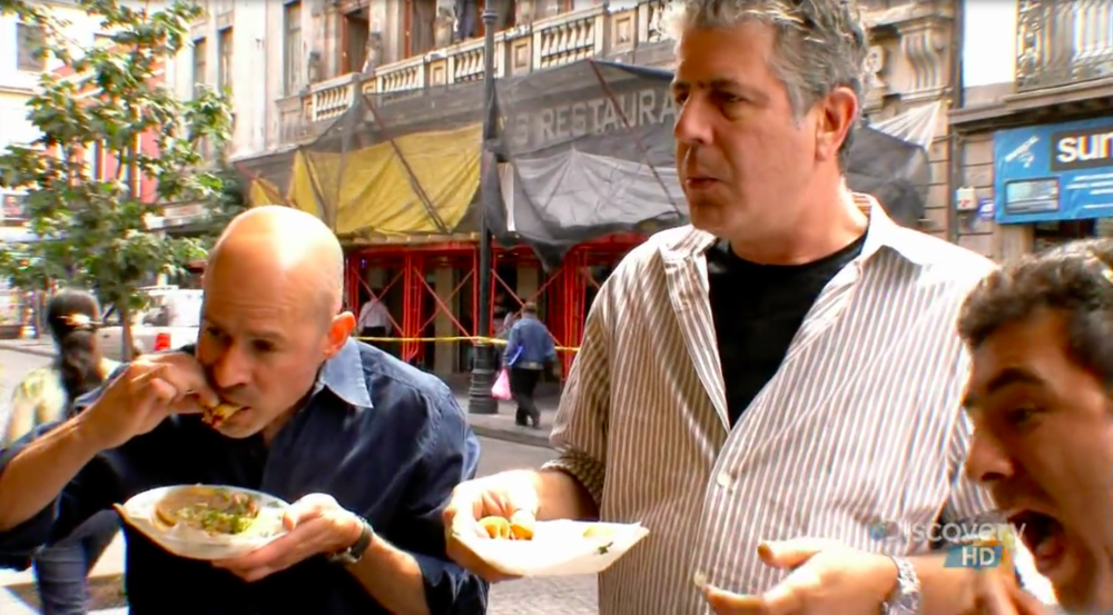 Anthony Bourdain and David Lida Mexico City tacos