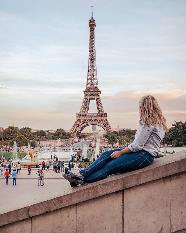 Bonjour Paris ✨ . Fun fact: this is a super dangerous shot to get, First my mom had to help me get up there, it's super slippery and you can't tell but I'm holding on for dear life. Good thing you can't see my face 🙈 . . . #paris #parisfrance #eifeltower #europe #france #travel #travelphotographer #canon #5dmarkiii #mypresets #sofiacpresets