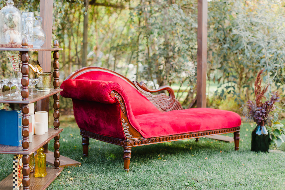 BRIGHT RED VELVET FAINTING COUCH - $120