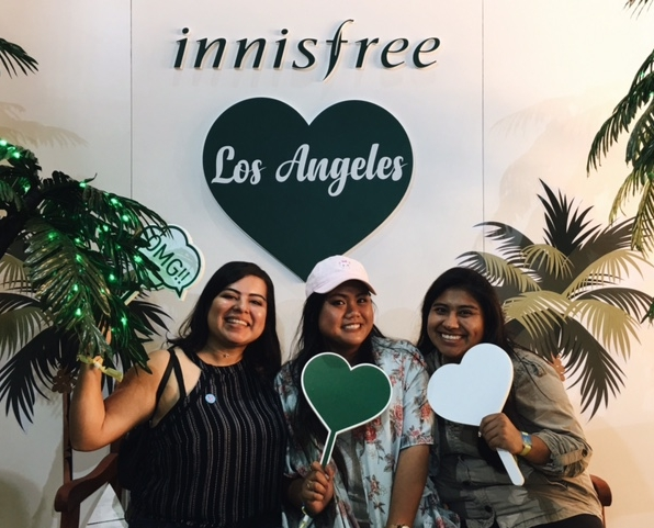 Elizabeth, me, and Jessenia ~loving~ the Innisfree booth!