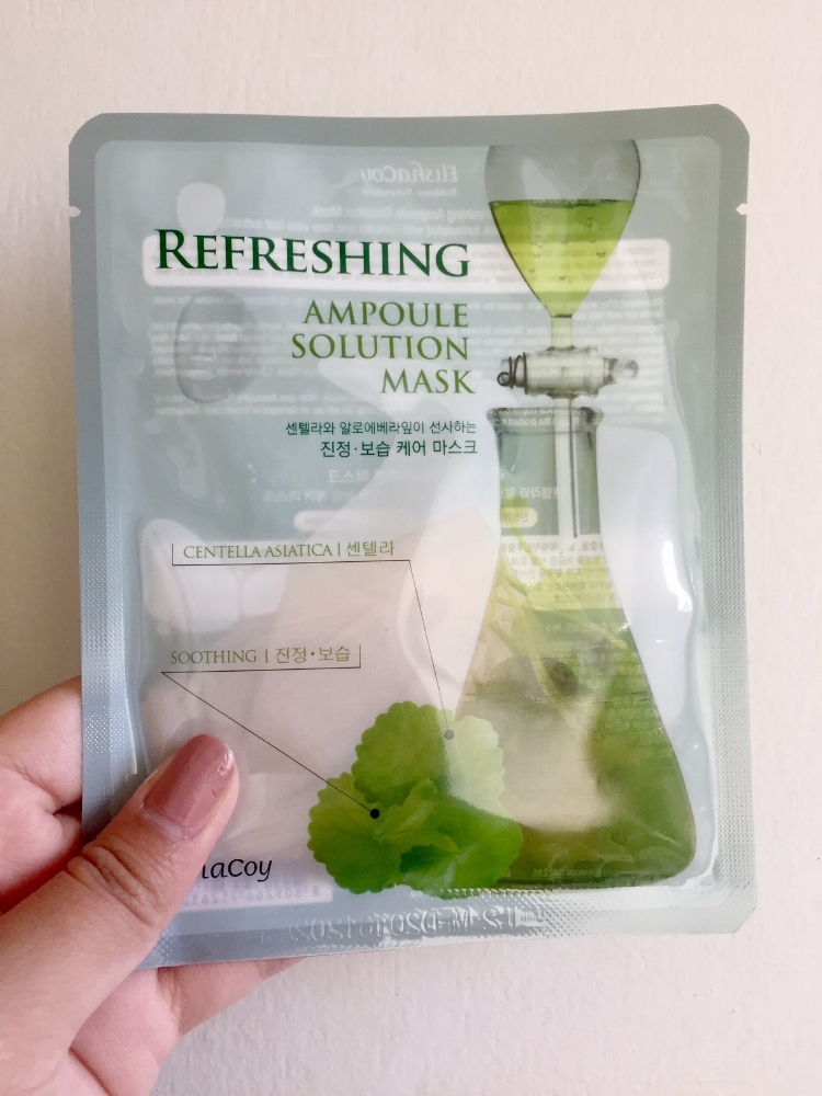 Front of the Refreshing Ampoule Solution Mask. You can see the serum and mask.There's 25ml!