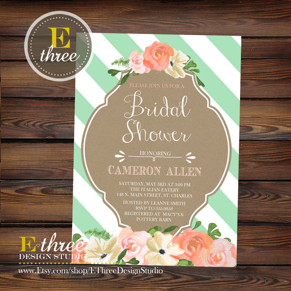 7f3221451e8f Mint and Peach Bridal Shower Invitation - Floral Watercolor Wedding Shower  Invitations - Kraft Paper and Stripes - Rustic Modern  1044
