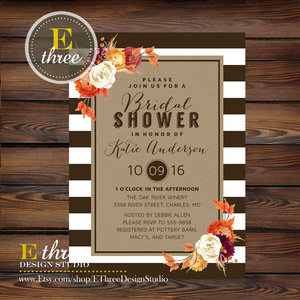 Fall Bridal Shower Invitations Modern Rustic Wedding Shower