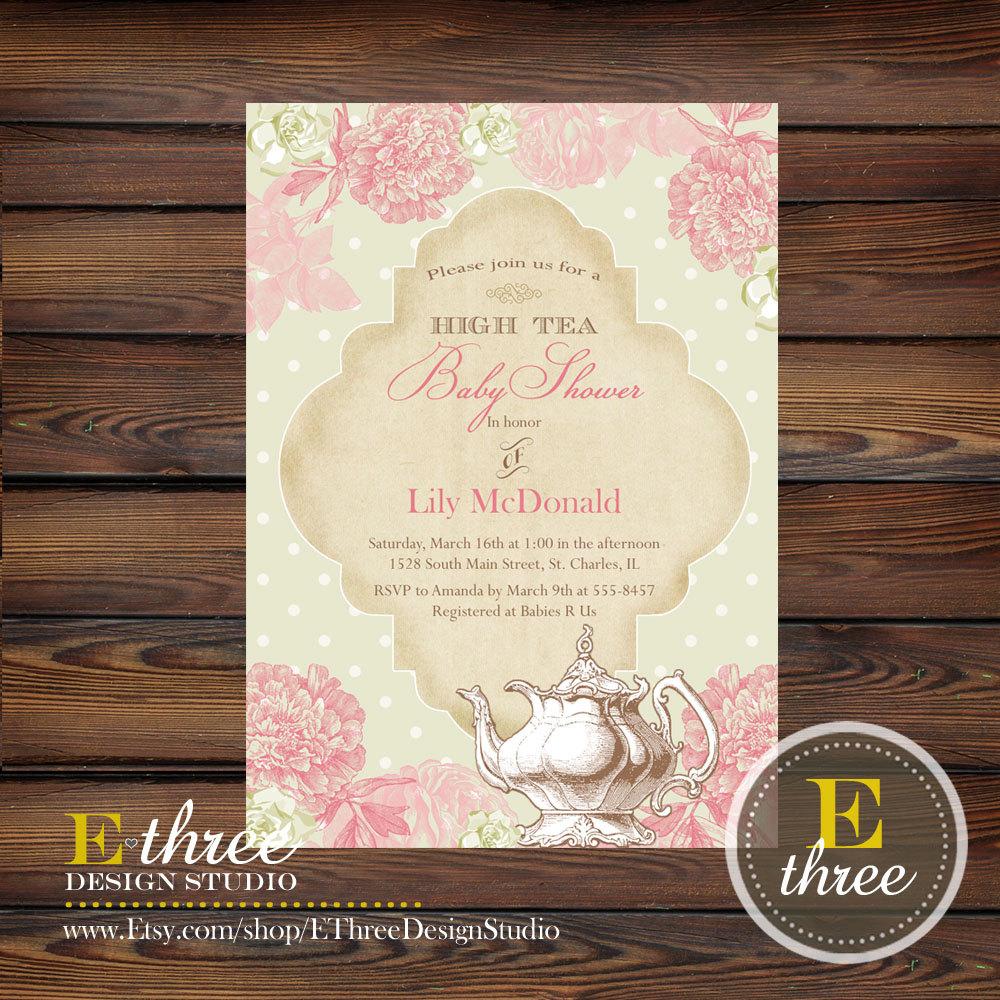 8f4b9a46539 Printable Vintage High Tea Baby or Bridal Shower Invitation - Shabby Chic  Vintage Shower Invitation - Pink and Green Shower Invite