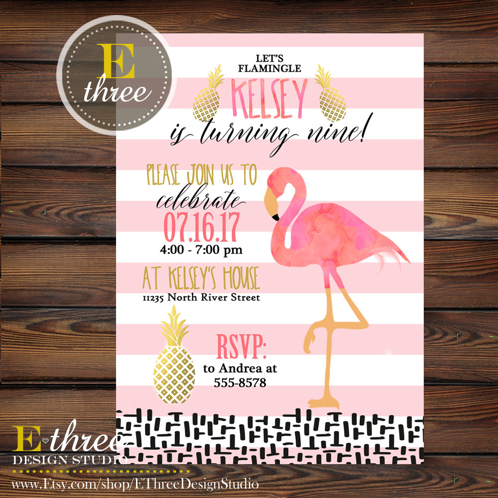 flamingo birthday party invitations pineapple girl s summer party