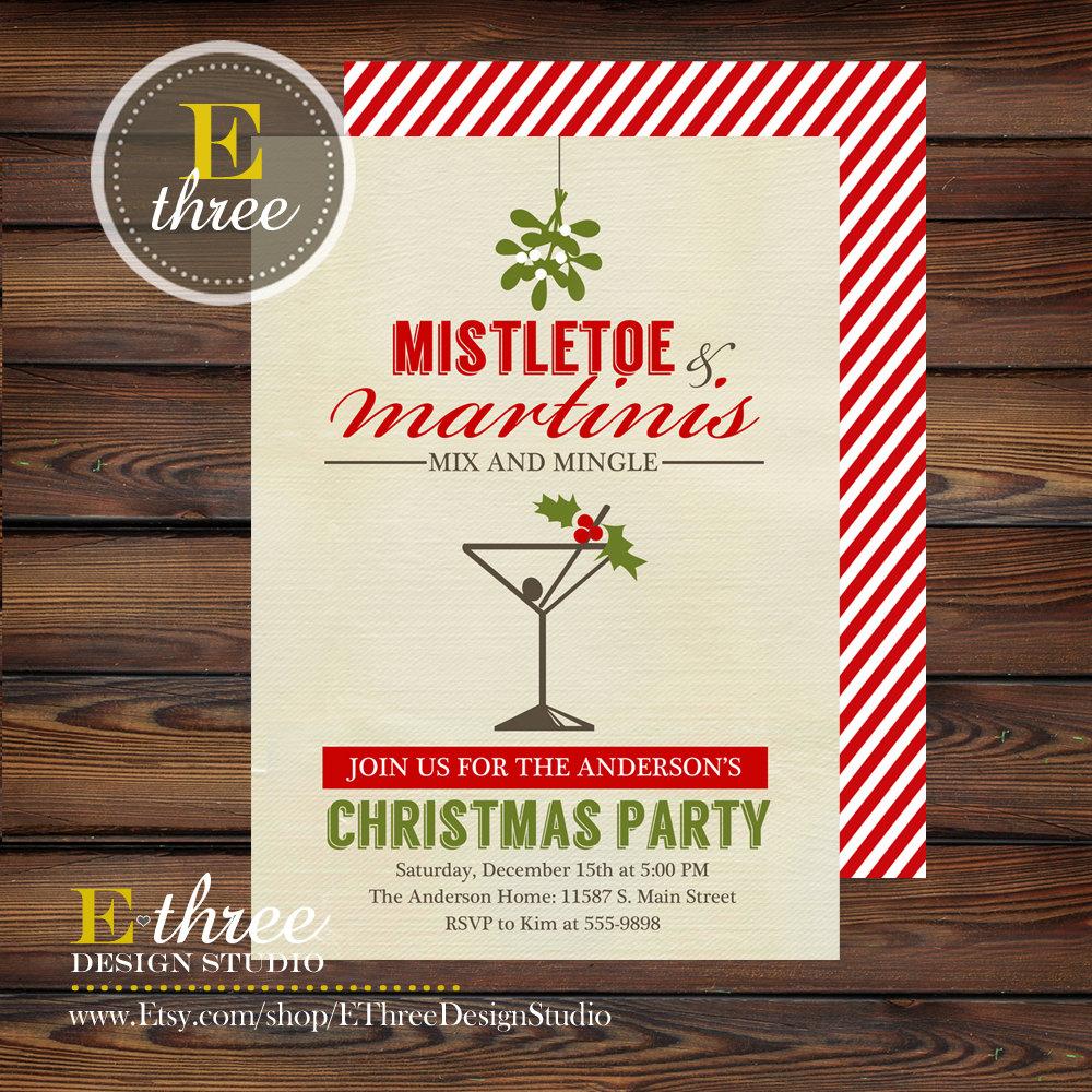 Mistletoe And Martini Christmas Party Invitation Cocktail Adult
