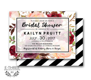burgundy and blush bridal shower invitations floral modern bridal shower invites wedding shower invitations