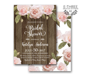 83043ac5509 Rustic Bridal Shower Invitation - Barnwood and Floral Bridal Shower Invites  - Pink Flowers ...