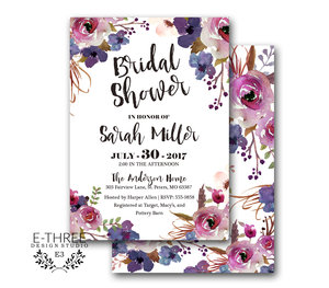 f6be19ab803c Purple Floral Bridal Shower Invitations - Watercolor Flowers - Purple