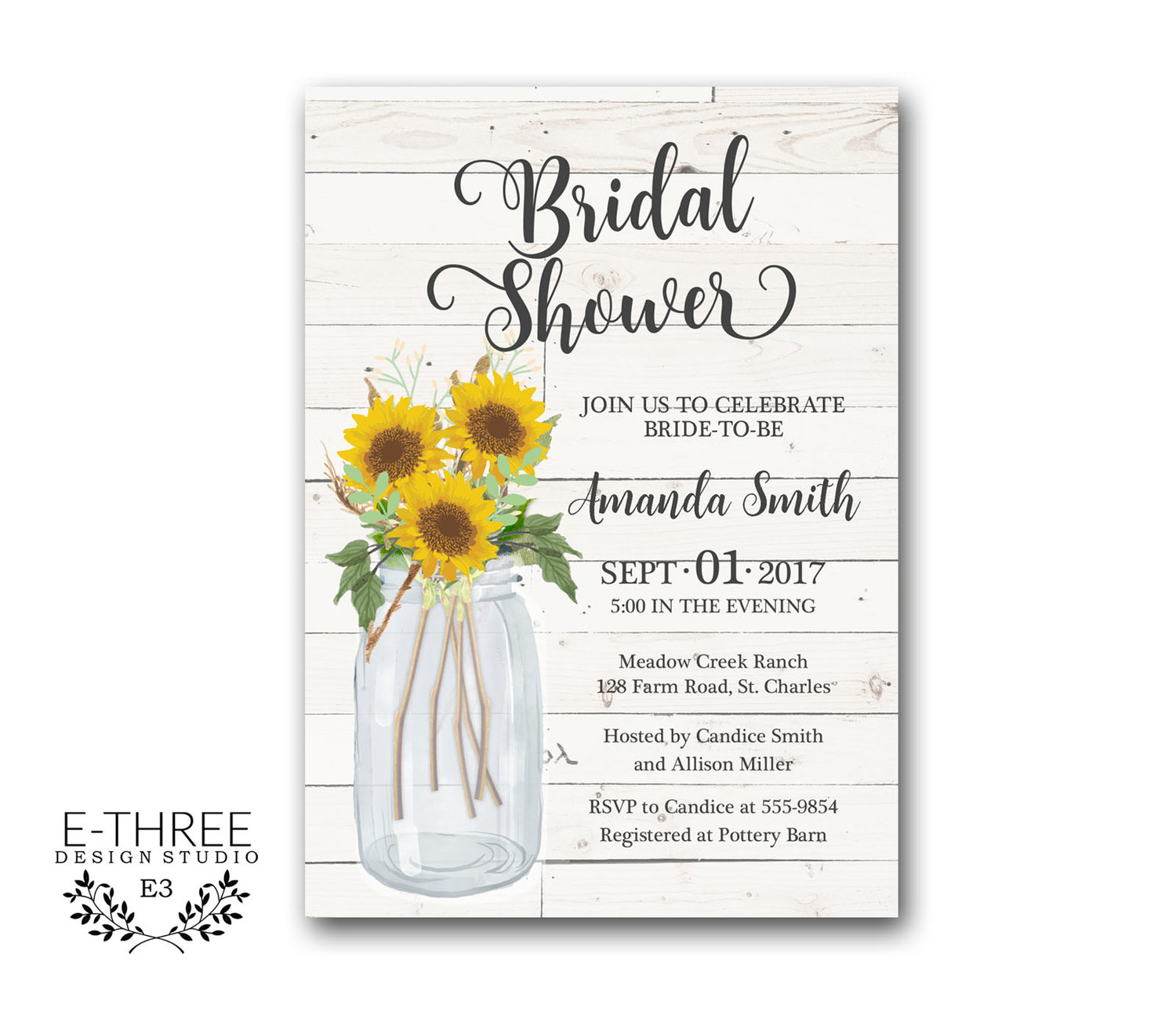 Sunflower Bridal Shower Invitation - Rustic Farmhouse Bridal Shower ...