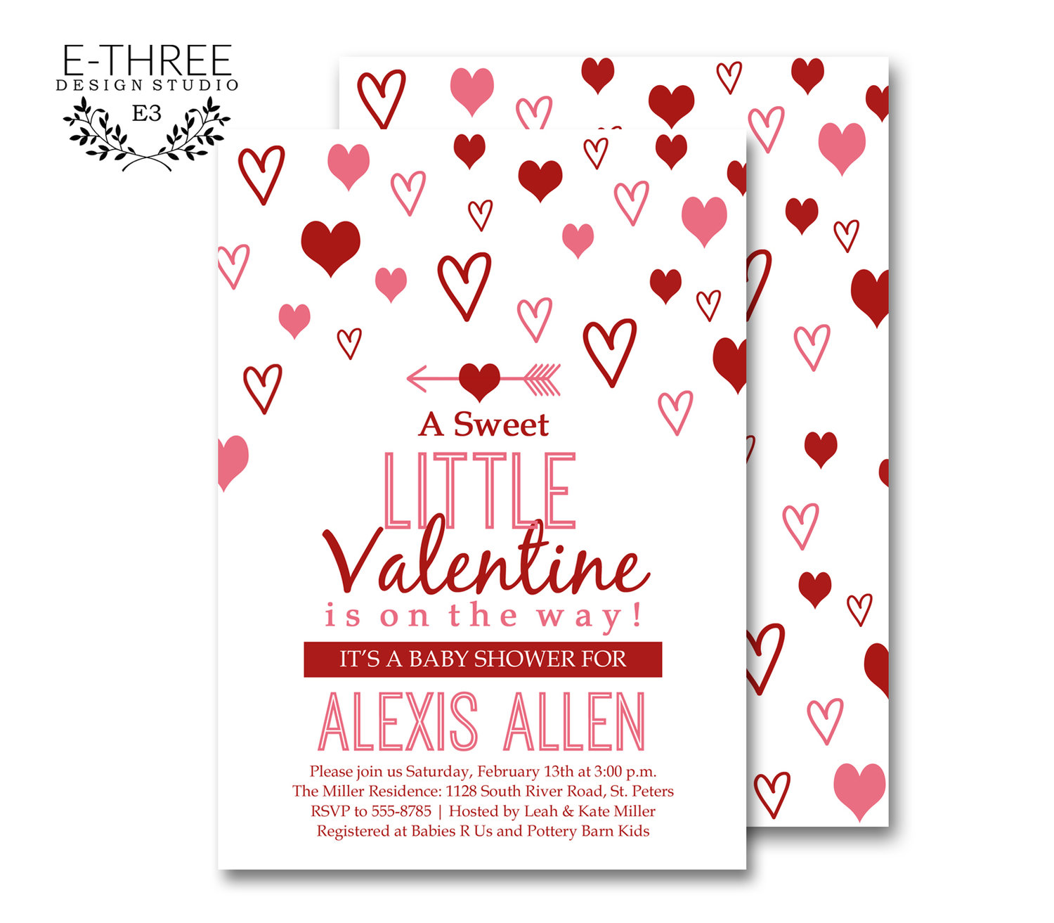 Valentines Baby Shower Invitation - Pink and Red Girl\'s Shower ...