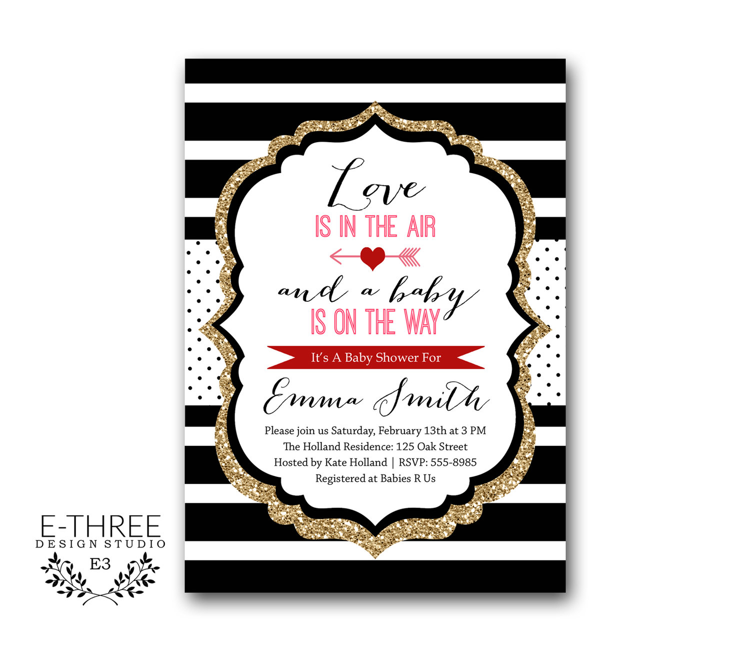Valentines Baby Shower Invitations - Modern Black, Gold, Red, and ...