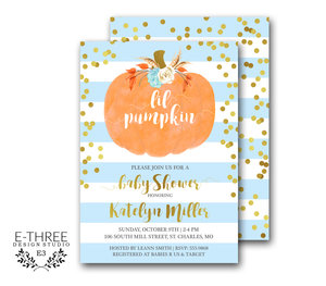 Baby e three design studio pumpkin baby shower invitation boy baby shower invitations gold confetti blue orange little pumpkin fall baby shower invite filmwisefo