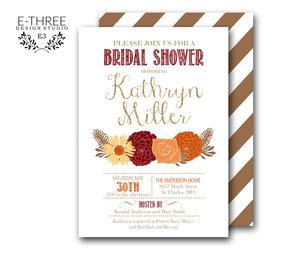 Bridal e three design studio fall bridal shower invitation gold burgundy orange shower invitation floral fall wedding shower filmwisefo