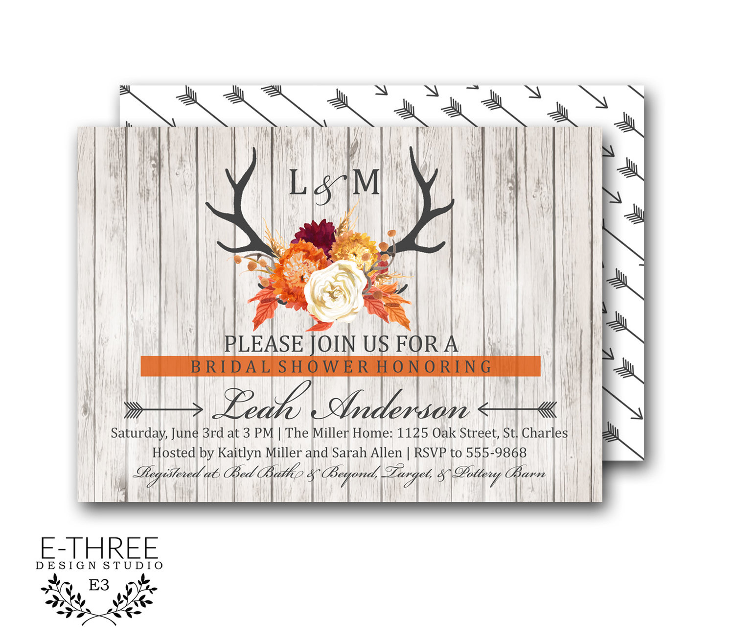 rustic fall bridal shower invitation deer anter shower invite wood fall flowers arrows antler shower invitation 1024