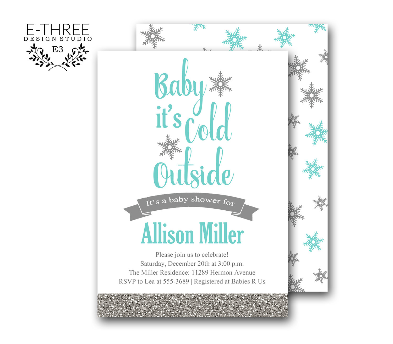 Winter baby shower invitations baby boy shower invite baby its winter baby shower invitations baby boy shower invite baby its cold outside shower little snowflake silver glitter aqua blue filmwisefo