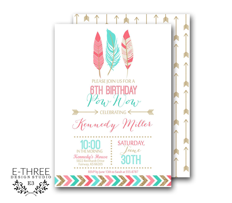 Printable Girl\'s Birthday Invitation - Indian, Tribal Girl\'s Party ...