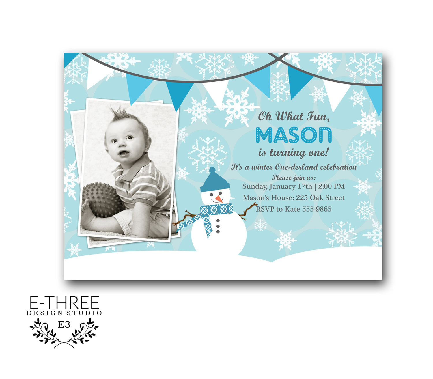 Printable Boys Winter Wonederland Invitation Winter Wonderland Invitation Kids Winter Party Boys First Birthday Invite E Three Design Studio