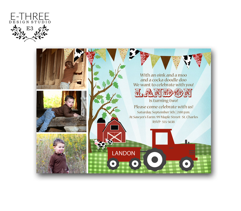 farm birthday party invitations kid s barn photo card invitation