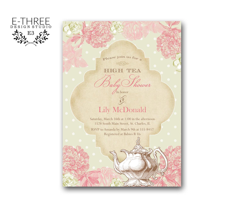 Printable Vintage High Tea Baby Or Bridal Shower Invitation Shabby