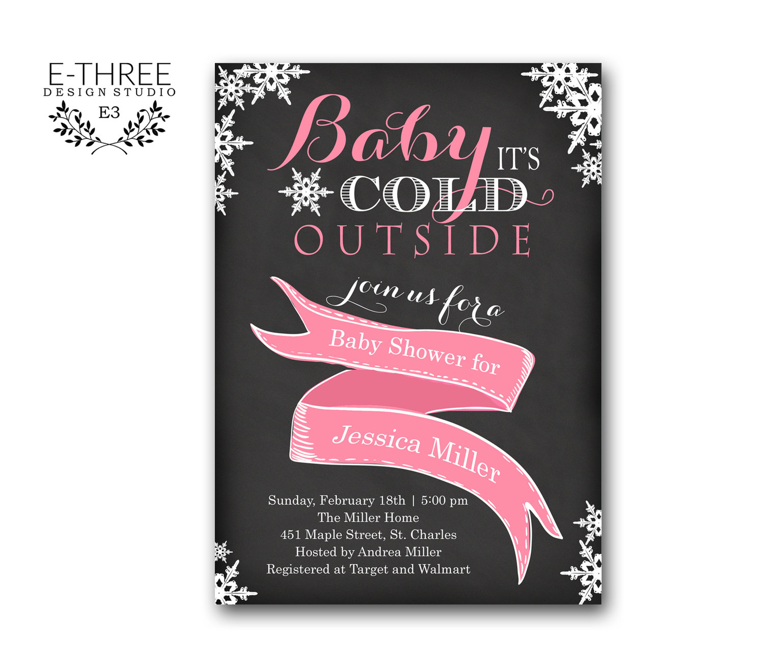 Winter Baby Girl Shower Invitation - Baby It\'s Cold Outside Shower ...