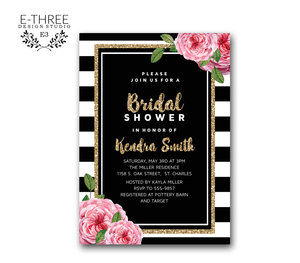 Bridal e three design studio pink and gold bridal shower invitation black and white stripes pink flowers modern shower filmwisefo